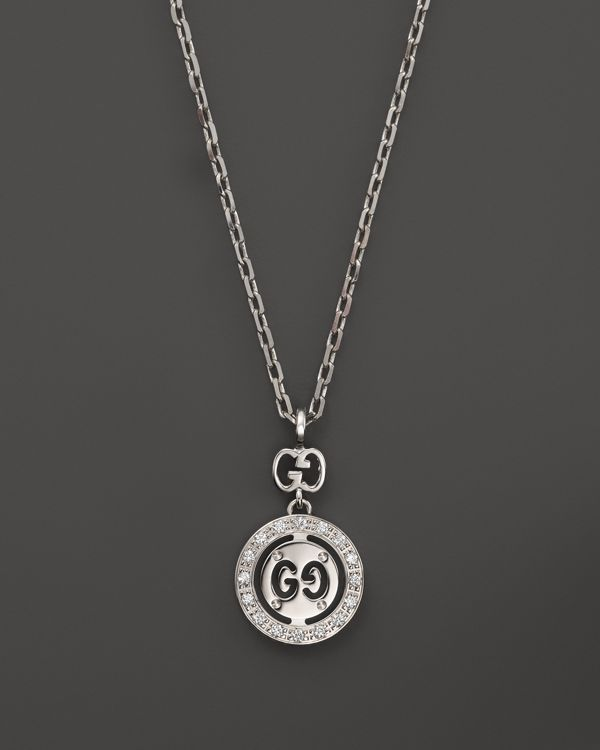b046400a9 Gucci 18K White Gold Icon Twirl Necklace with Diamonds, .05 ct. t.w., 15.7
