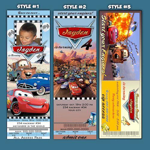 Customized Ticket Style Cars 2 Birthday Invitation – Ticket Style Birthday Invitations