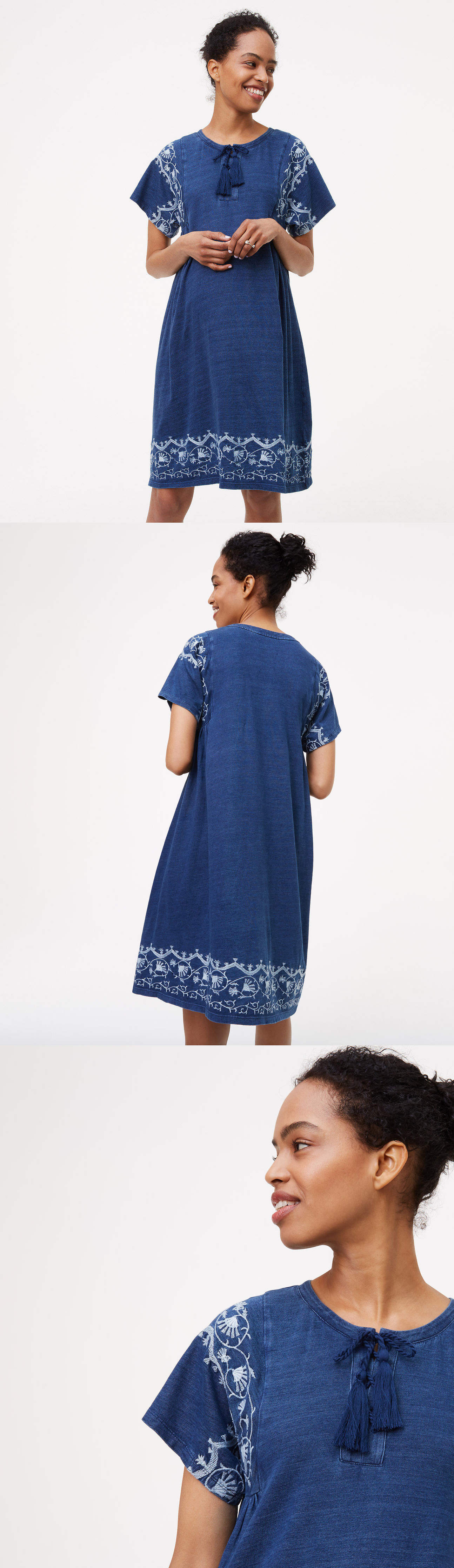 Dresses 11534 ann taylor loft maternity dress xs s blue cotton dresses 11534 ann taylor loft maternity dress xs s blue cotton floral embroidered tassel new ombrellifo Images