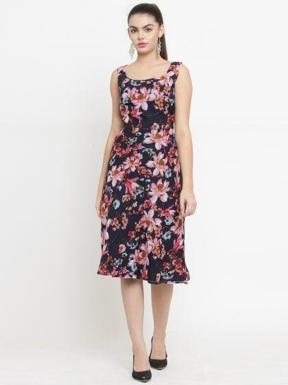 Multicolor Floral Print Midi Dress  a71f5dbbb4