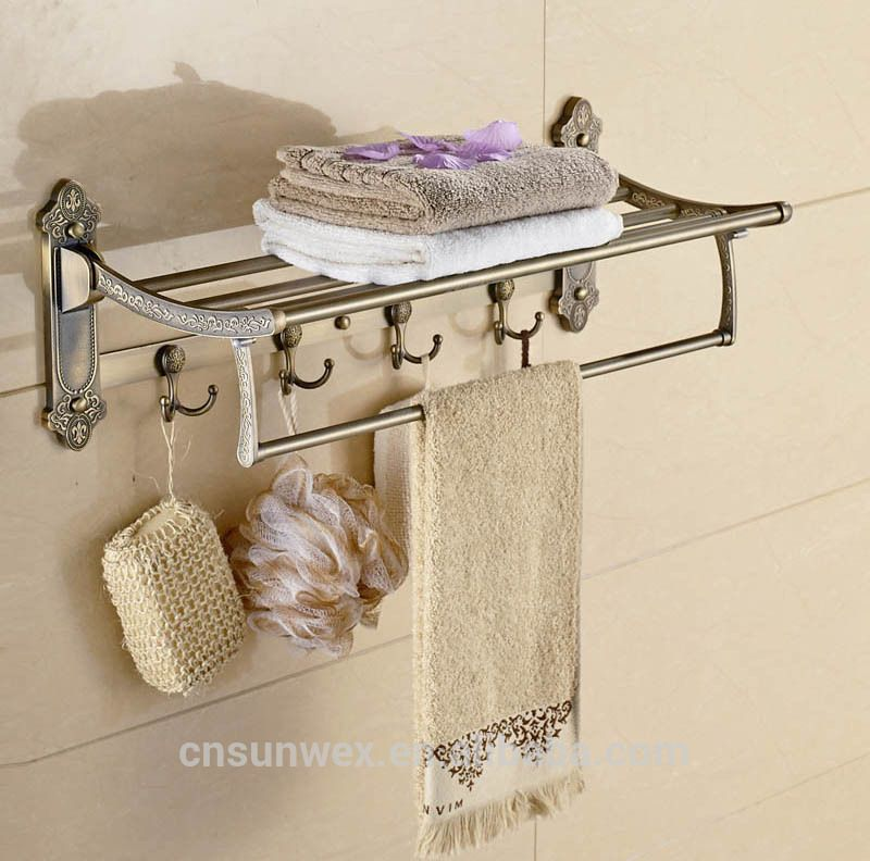 Stainless Steel Foldable Bathroom Towel Rack With Hooks Movable ...