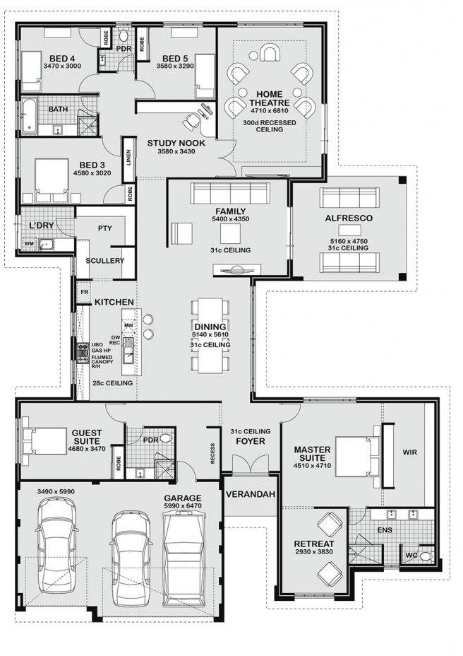 1 Storey Floor Plan Guest Bed As Study Bedroom House Plans Dream House Plans House Flooring