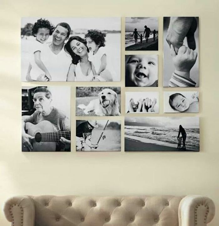 Kreative Wandgestaltung Wohnzimmer fotowand selber machen wandgestaltung wohnzimmer und schwarzer