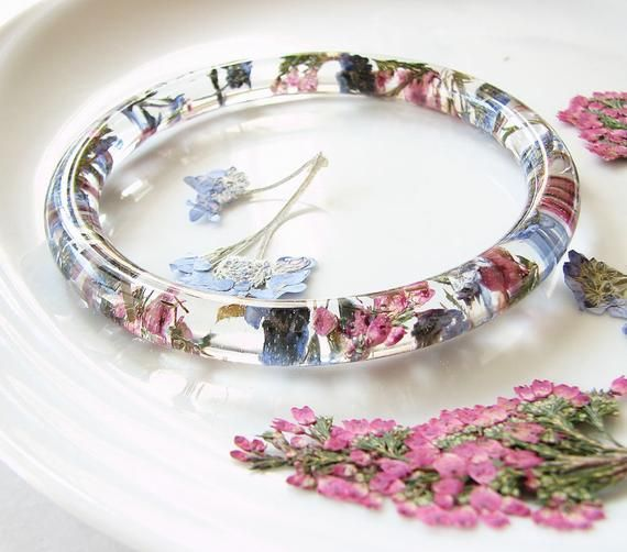 Real Flower Bracelet Resin Bracelet Bangle Bracelet Flower Pressed Jewelry Heather and Forget Me Not Flowers