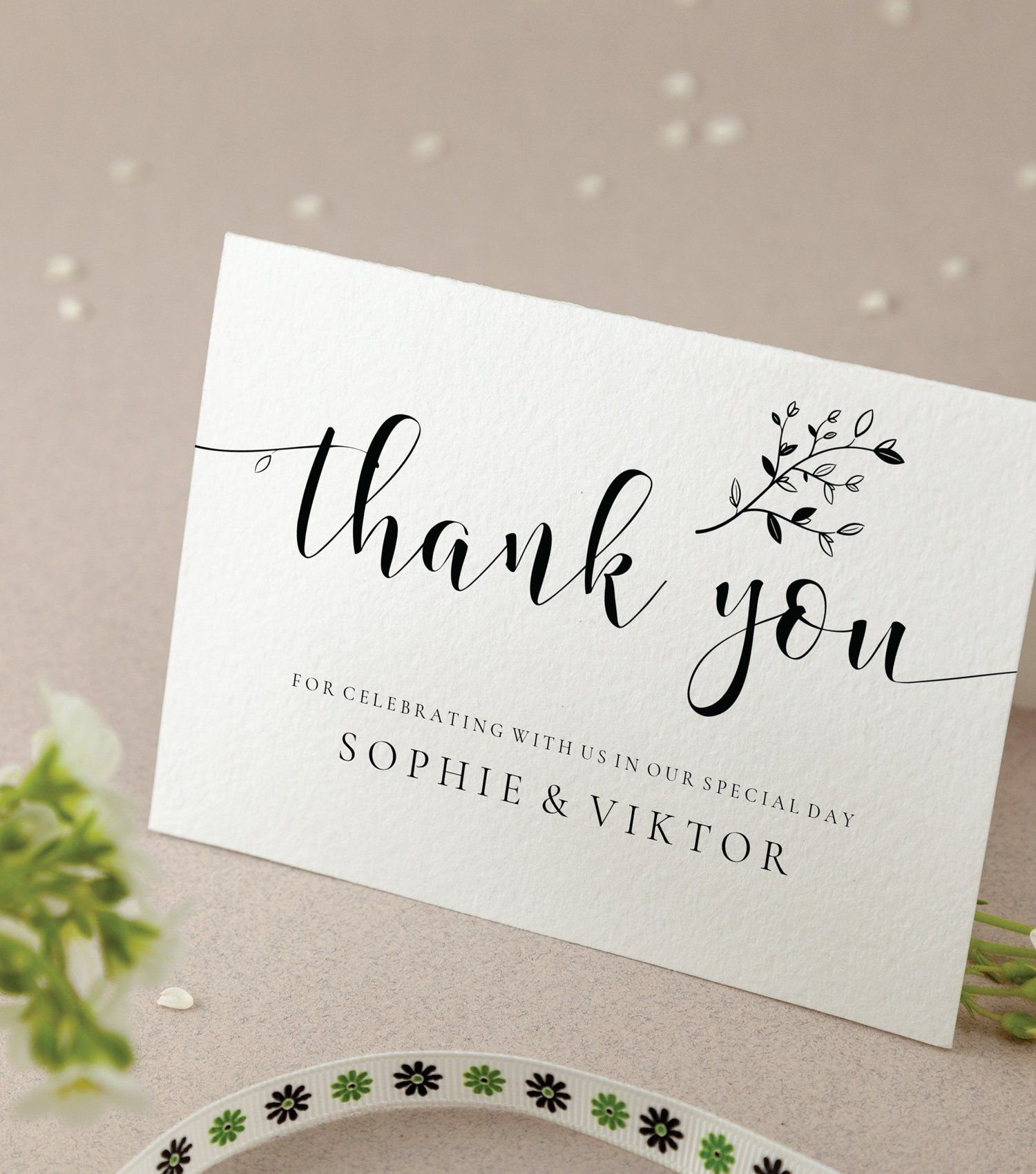 Wedding Thank You Card Template With Twigs And Leaves 5x3 5 Etsy Thank You Card Template Wedding Thank You Cards Wedding Thank You