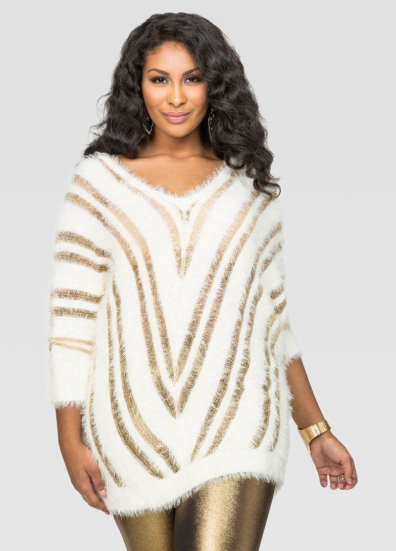 b85fe38782a6f Clearance Womens Plus-Size Clothing On Sale. Fuzzy Metallic Stripe Dolman  Sweater Fuzzy Metallic Stripe Dolman Sweater