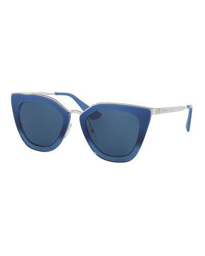 7ce88c95592ca Gradient Metal-Trim Geometric Cat-Eye Sunglasses