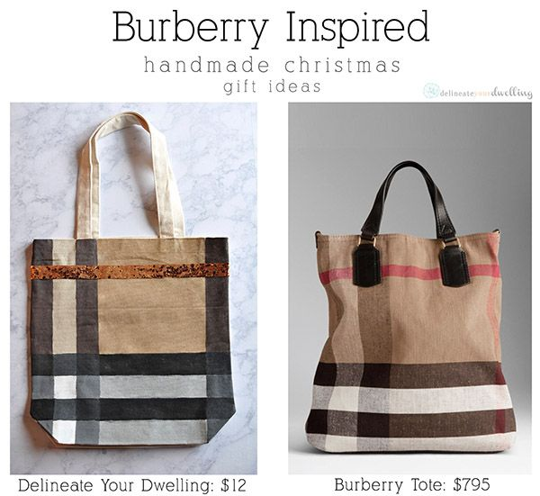 Burberry Inspired Canvas Tote Bag, Delineate Your Dwelling  giftidea  DIY fa7143055c