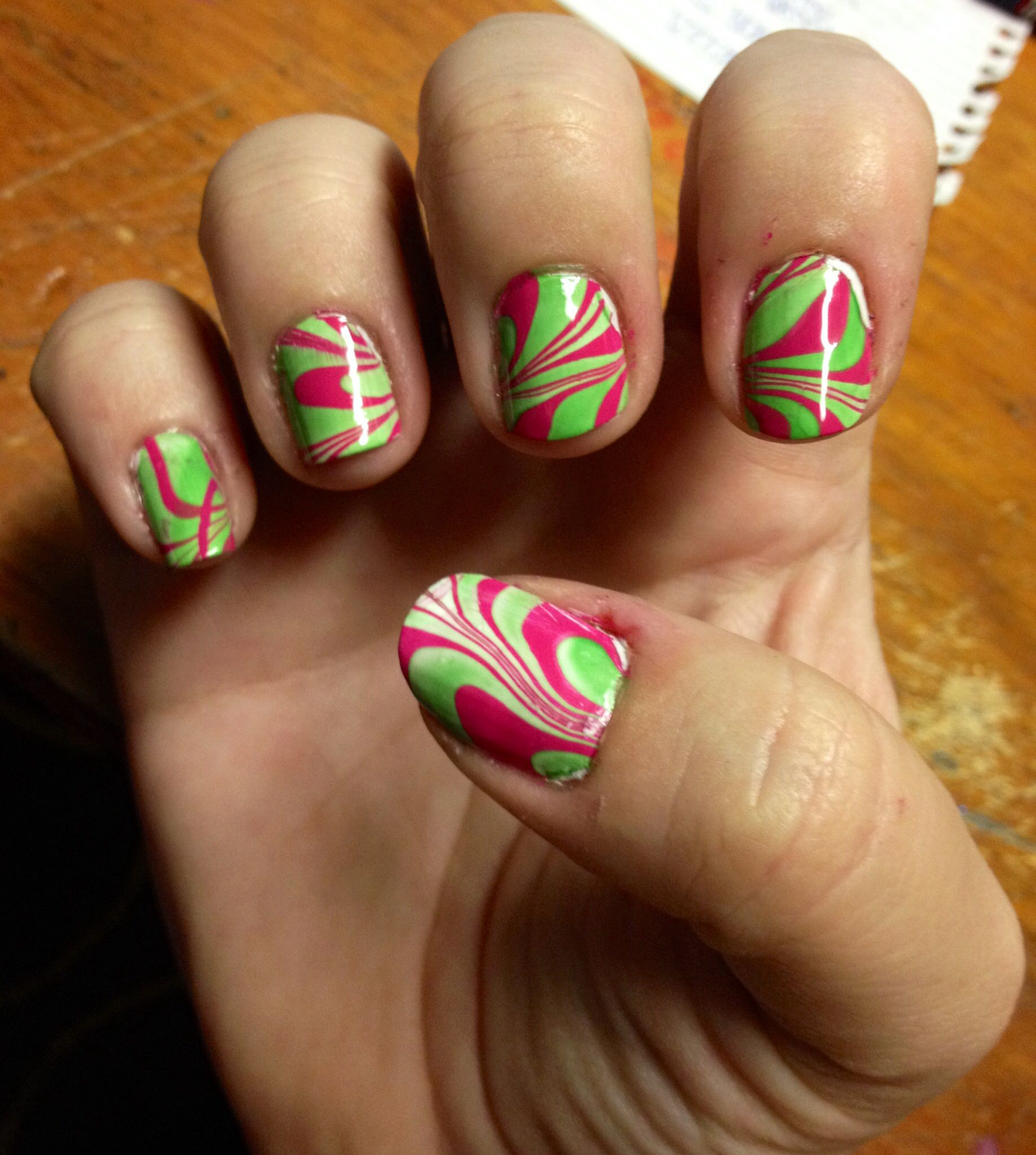 Water Marble Nail Art. Pink And Green.