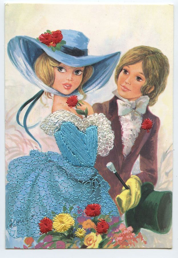 Couple with Big Hats Embroidered Silk Fabrics Dress 1960s Postcard HF03 | eBay