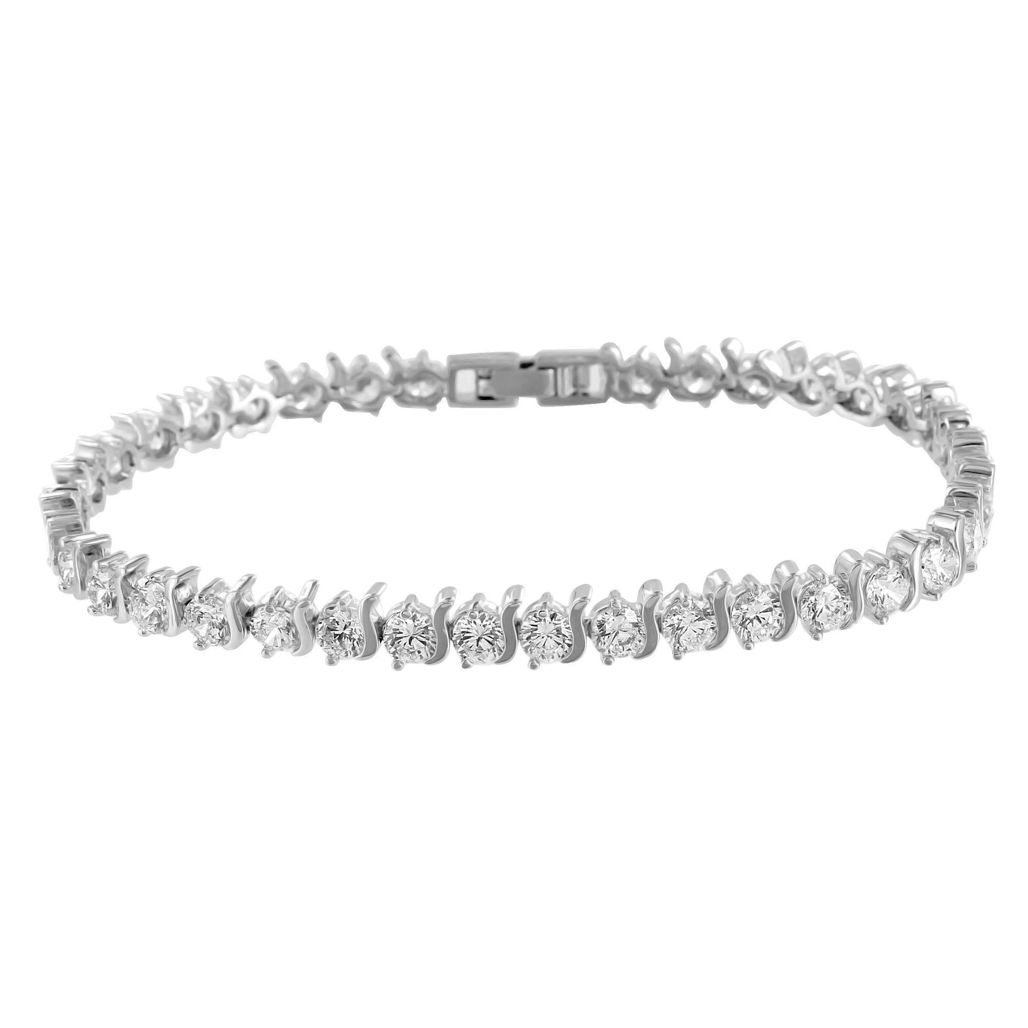 Womens tennis design bracelet solitaire round link lab diamond white