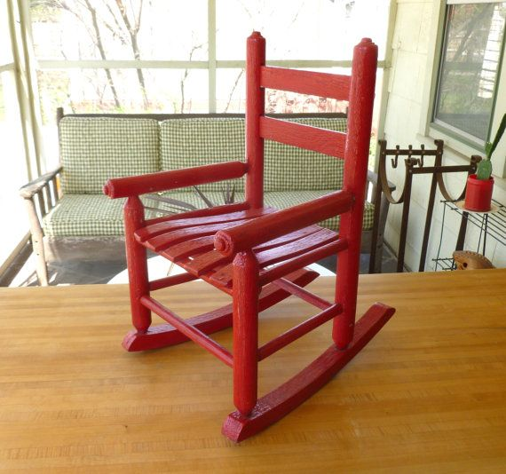 This is an Old Red Oak Wood Childrens Rocking Chair. It measures 23 tall x  15 wide x 19 front to back. Painted with red enamel paint. - Antique Red Oak Wood Children's Rocking Chair Old Vintage Rocker