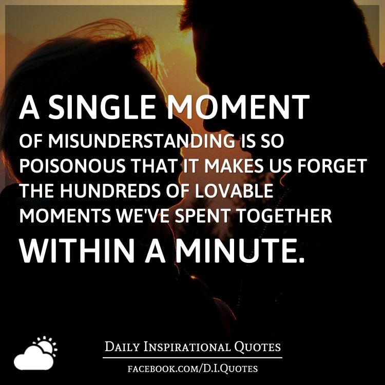 Misunderstanding Quotes New A Single Moment Of Misunderstanding Is So Poisonous That It Makes Us