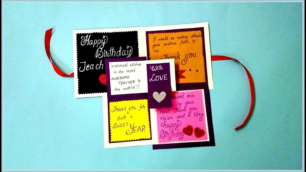 Beautiful Handmade Birthday Card Idea For Teacher Easy Birthday Card I Happy Birthday Cards Diy Handmade Birthday Cards Special Birthday Cards