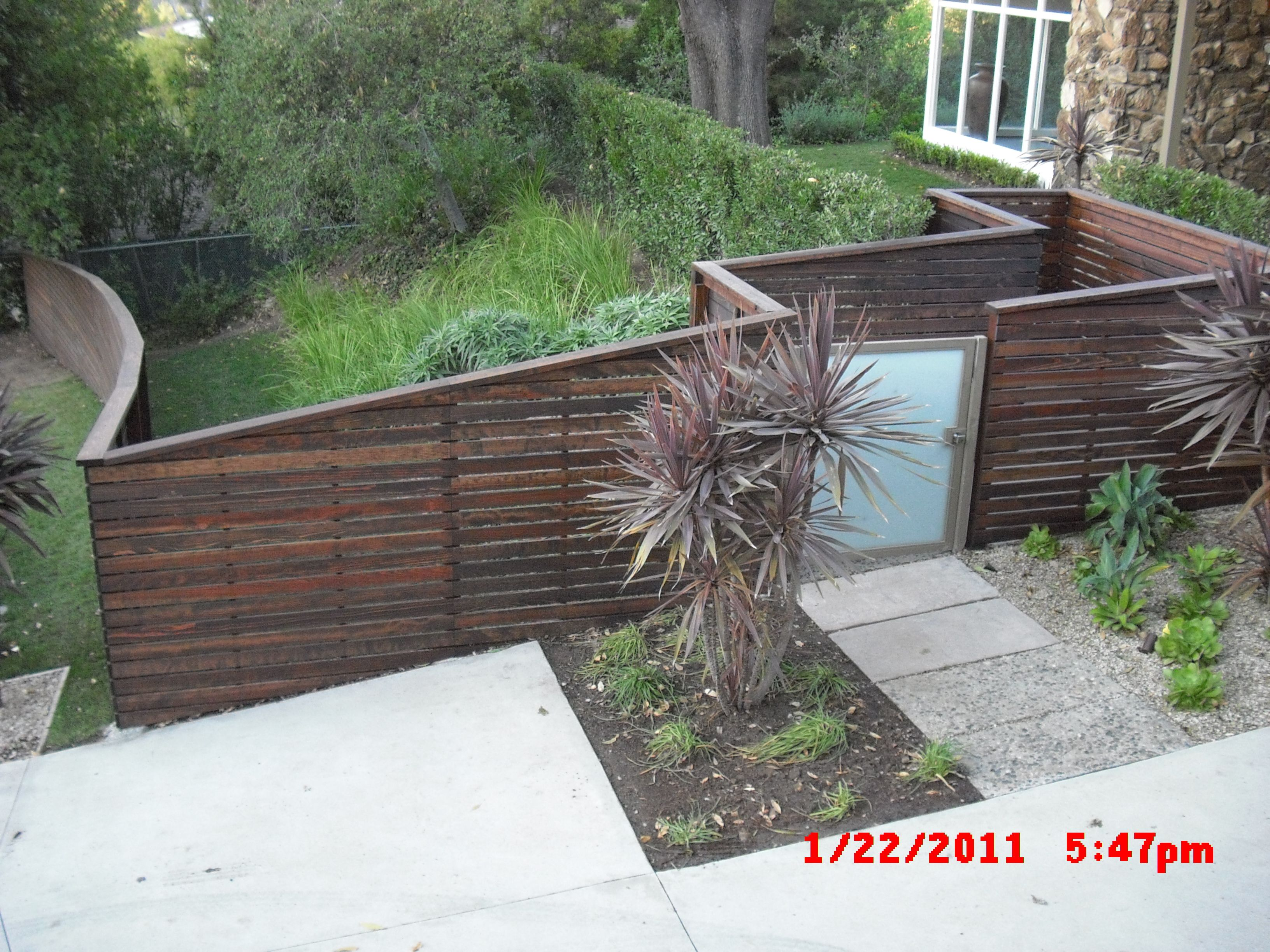 Wood color and slat width fence ideas pinterest yard gates exteriorhorizontal railing timber brown front fence ideas with stepped design plus frosted door gate stunning front fence ideas to protect and security baanklon Images