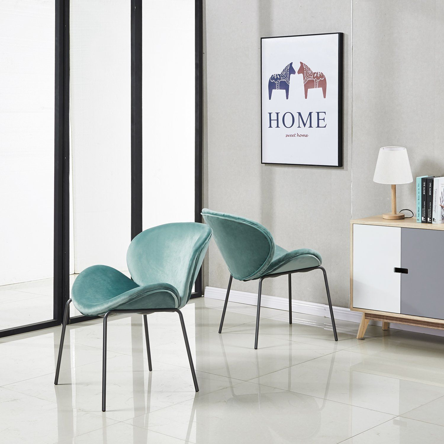 Mint Green Velvet Dining Chairs With Black Legs Amazon Com