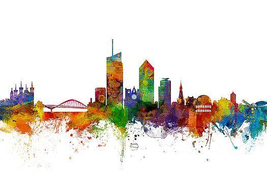 Lyon Skyline Cityscape France By Michael Tompsett Peinture Lyon