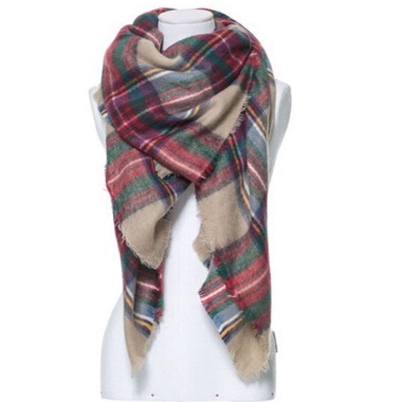 The Zara Tartan Plaid Blanket Scarf - Beige Multi Color plaid by LuELsDecor on Etsy https://www.etsy.com/listing/209296317/the-zara-tartan-plaid-blanket-scarf