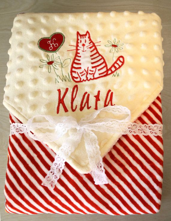 PERSONALIZED BABY BLANKET red cat designer applique High Quality Plush & Minky FREE GIFT WRAPING 3 NAMES FOR FREE  Very soft Cuddle baby