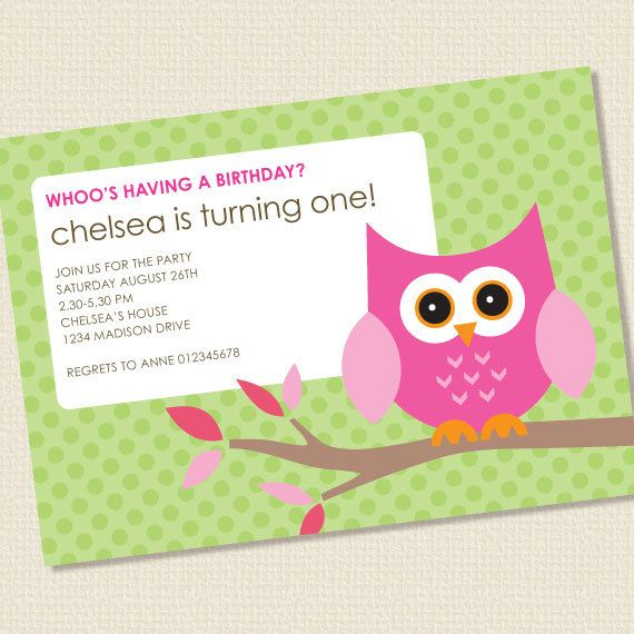 little owl birthday party invitation girl printable by paperspice