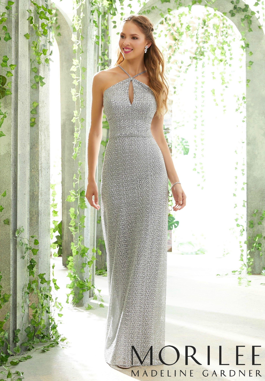 d1400c45 Morilee | Madeline Gardner, Stylish Caviar Mesh Bridesmaid Dress with  Criss-Cross Neckline Style 21606 | Caviar Mesh Bridesmaid Dress with a  Glamorous ...