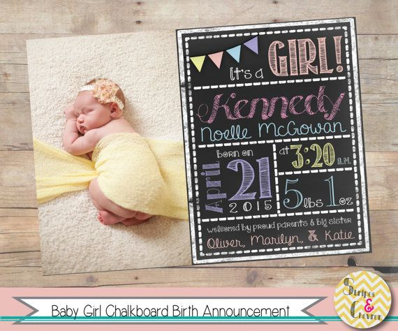 Baby Girl Birth Announcement Template Chalkboard Baby – Free Baby Girl Announcement Templates