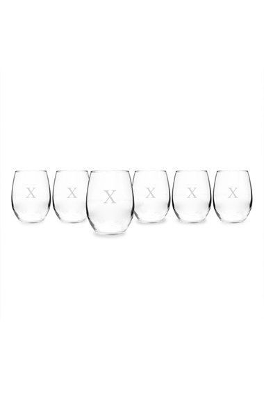 Cathy's Concepts Personalized Stemless Wine Glasses - White (Set of 6) (Online Only)