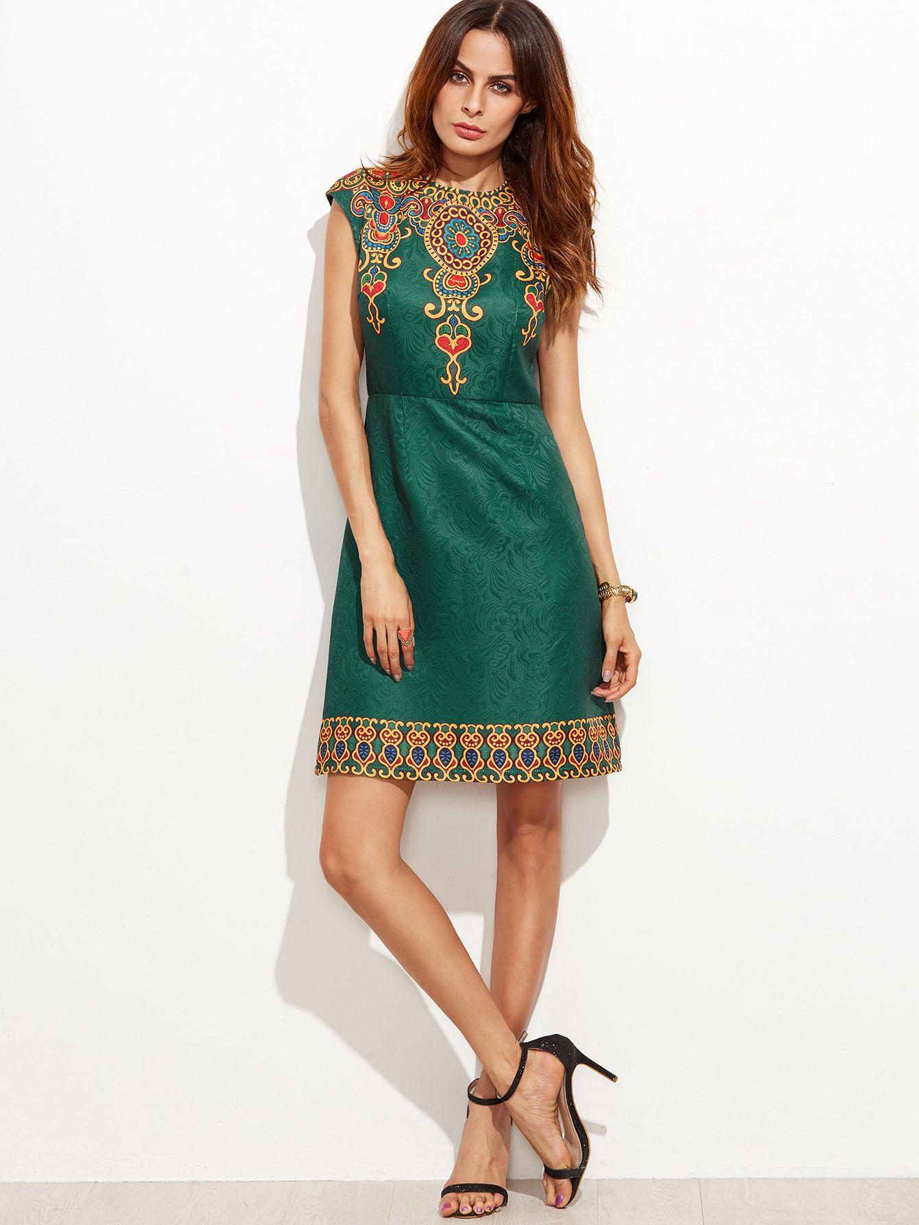 a986d95d3bf3 Green Vintage Print Cap Sleeve Jacquard Dress -SheIn(Sheinside ...