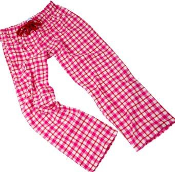 Bright pink and red check pyjama bottoms in cosy brushed cotton at The Pyjama House