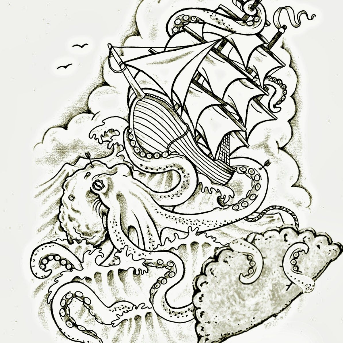 Octopus Shipwreck Drawing the octopus and...