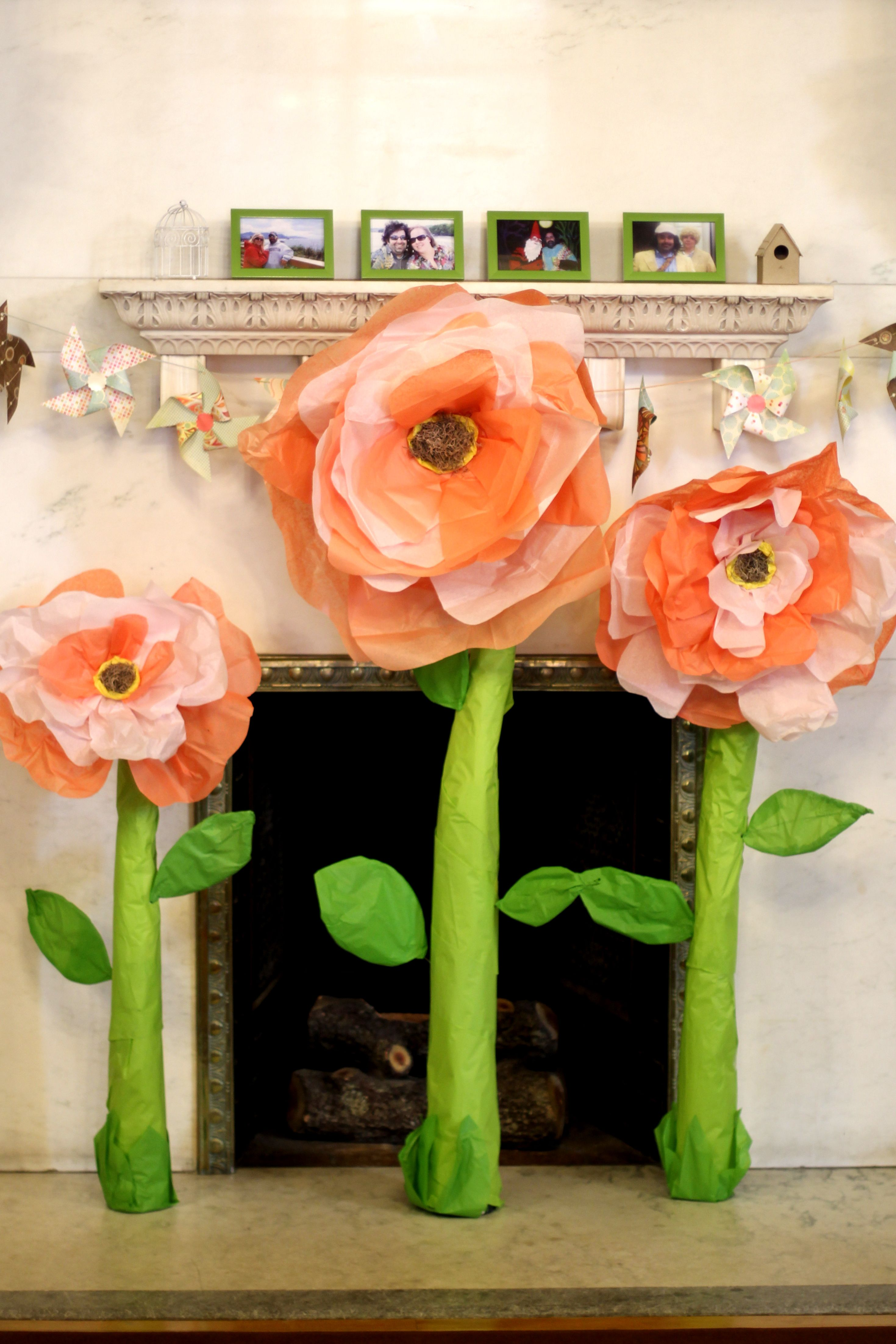 Large Tissue Paper Flowers Pin Wheel Picture Frames Spring