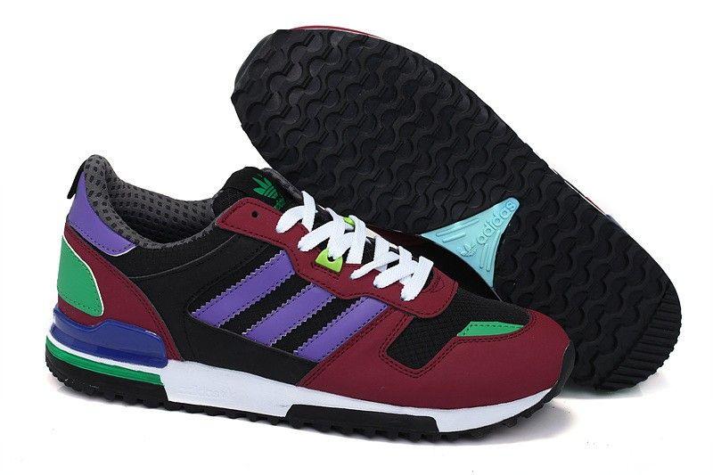 Parejas Adidas ZX 700 Operando original Zapatos Negro Vino tinto púrpura  verde bajo Precio de Venta