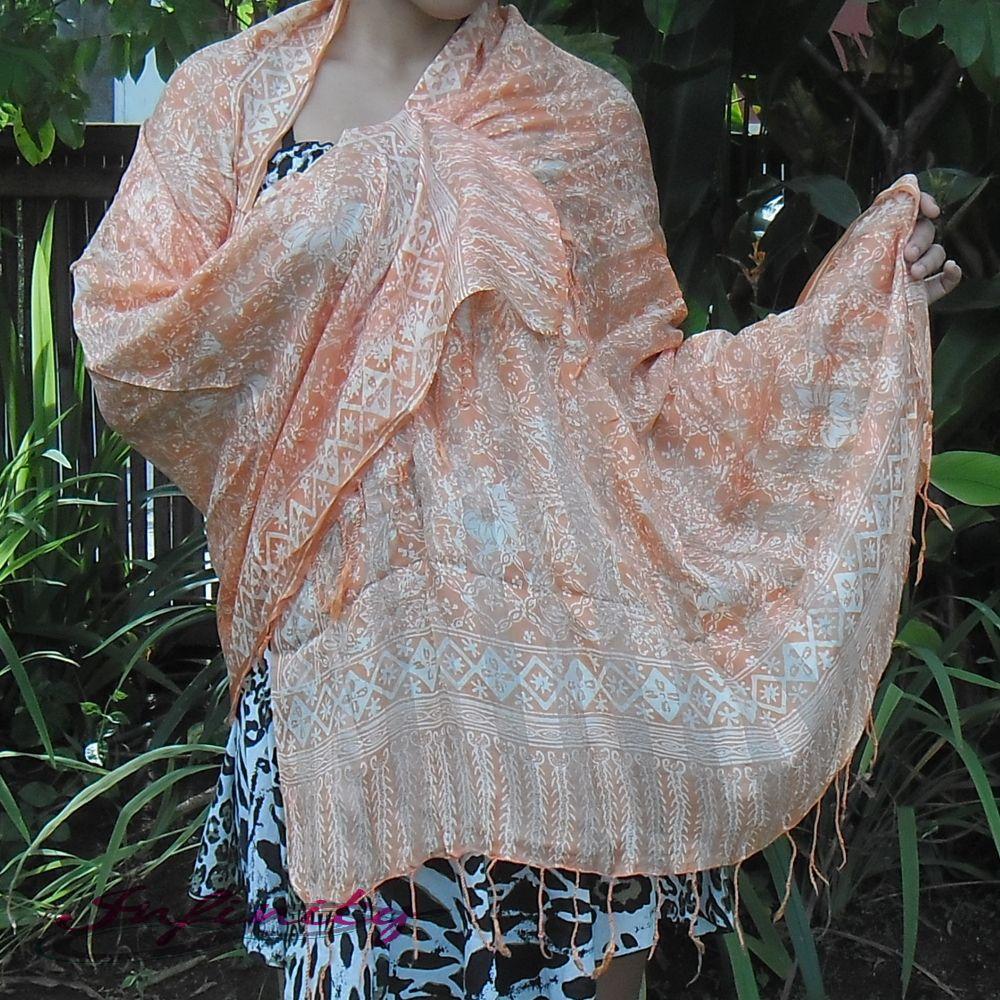 Traditional Handmade Batik orange Silk Scarf abstract
