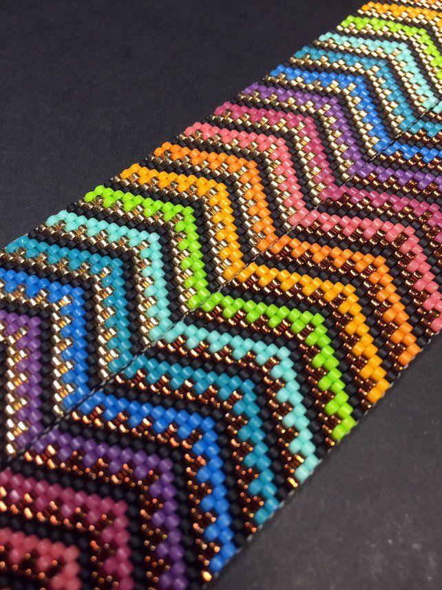 PATTERN – Single Peyote – Mosaic Chevron Bracelet
