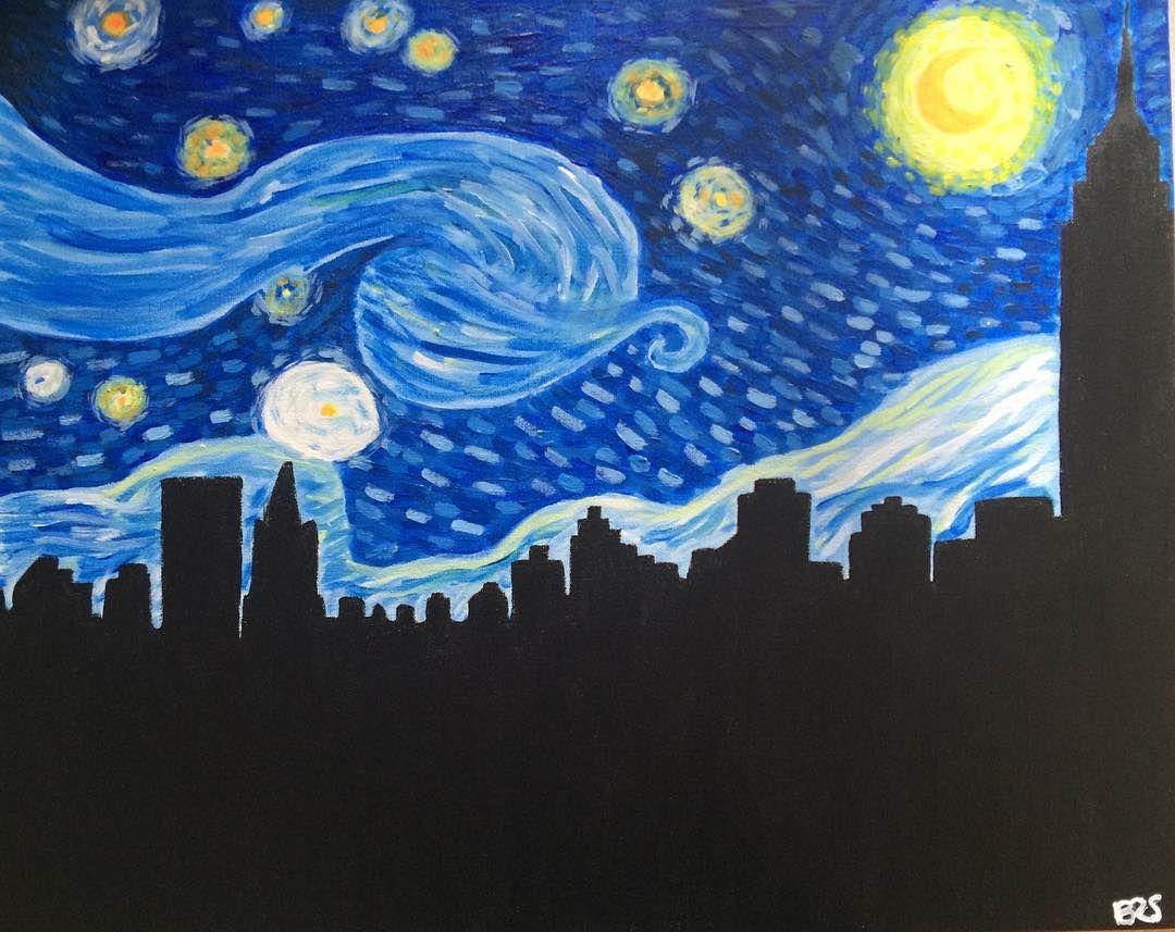 """modernized starry night by yours truly #modernization #vangogh # starry night #acrylicpainting"""