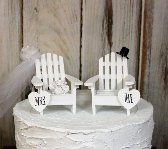 Beach Wedding Cake Topper Adirondack Cake By Sugarplumcottage