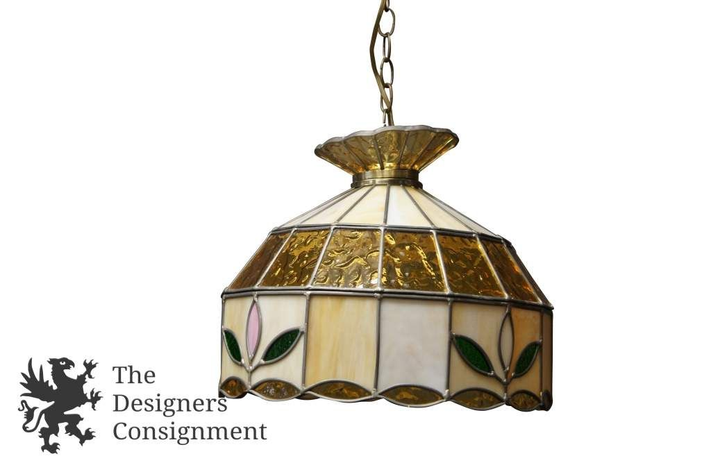 Vintage White and Yellow Leaded Slag Glass Swag Light Chandelier