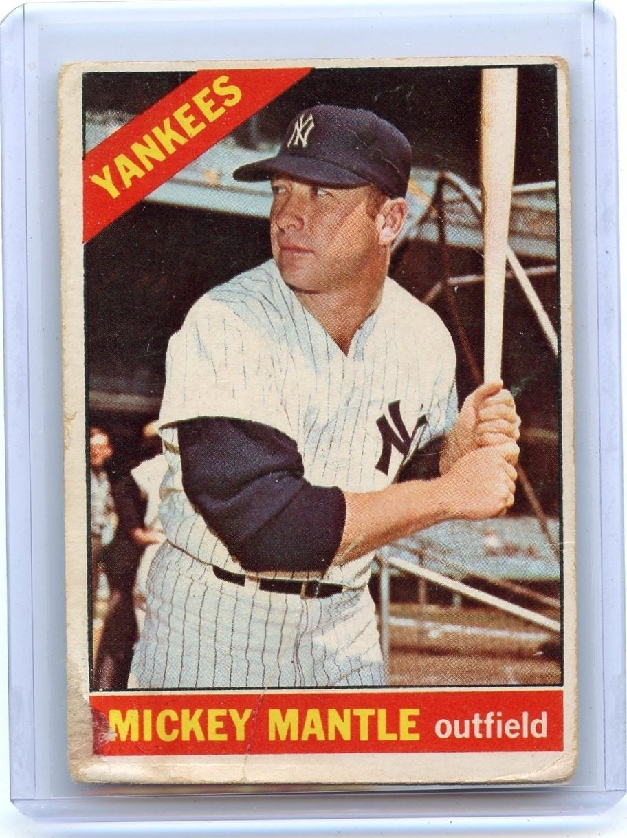 1966 Topps Baseball With Images Mickey Mantle Baseball Cards Baseball Card Values