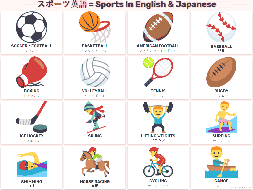 Sports And Games In English And Japanese