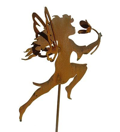 3-D Metal Fairy With Flower Garden Stake