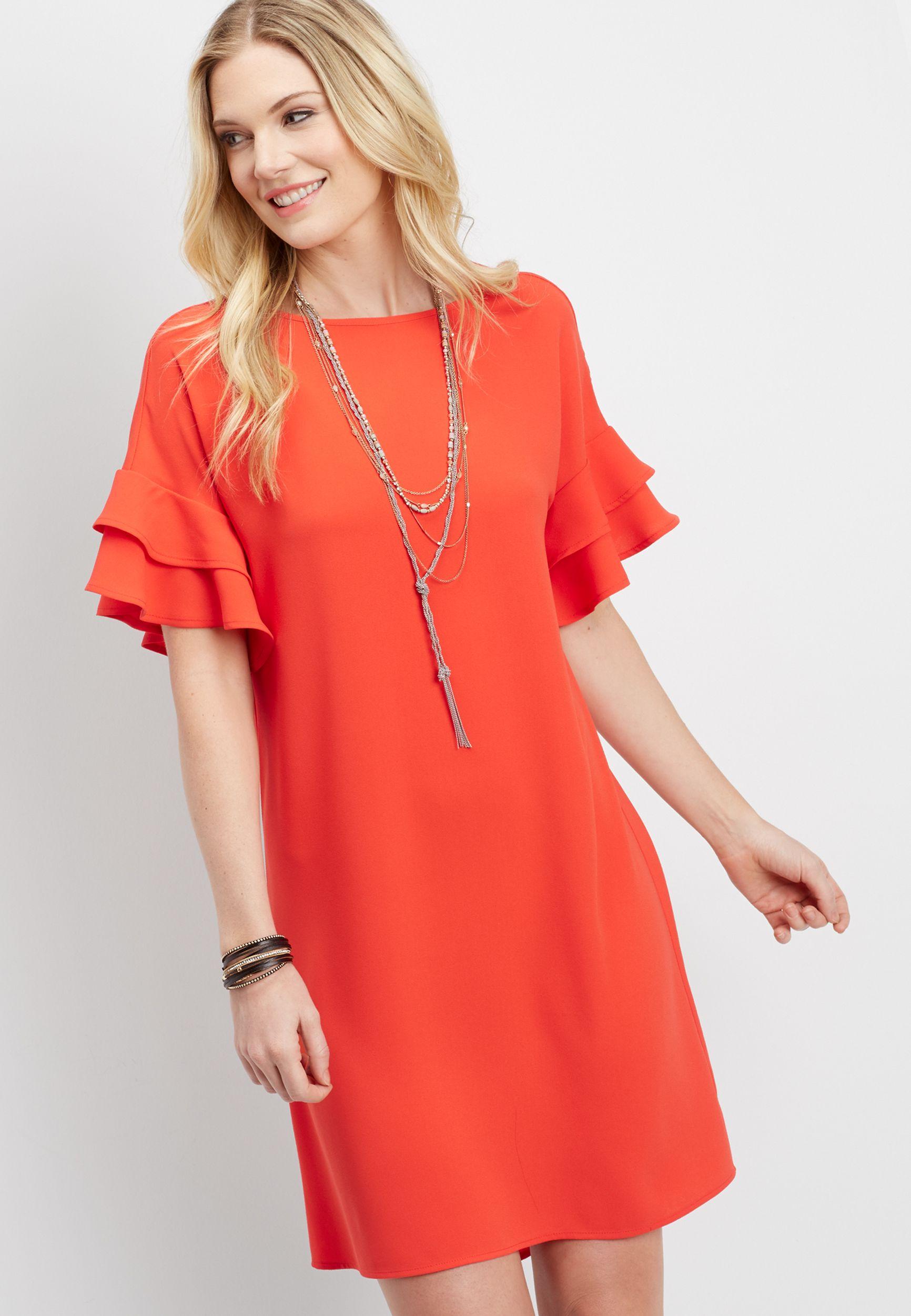 Ruffle Sleeve Shift Dress Original Price 39 00 Available At Maurices Shift Dress Dresses Short Sleeve Dresses [ 2500 x 1732 Pixel ]