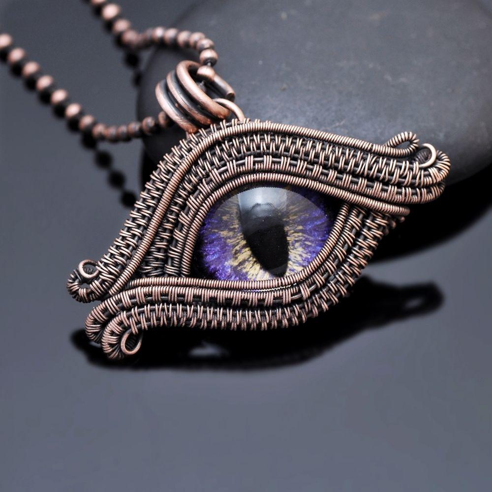 wire wrap pendant   evil eye pendant   symbol of protection   evil ...