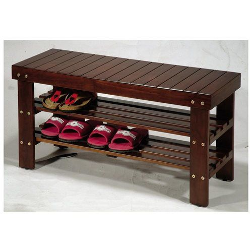 2 Tiers Wooden Shoe  Rack Walnut Finish