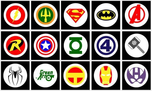 image relating to Logo Quiz Printable named Superhero Symbol Quiz Printable