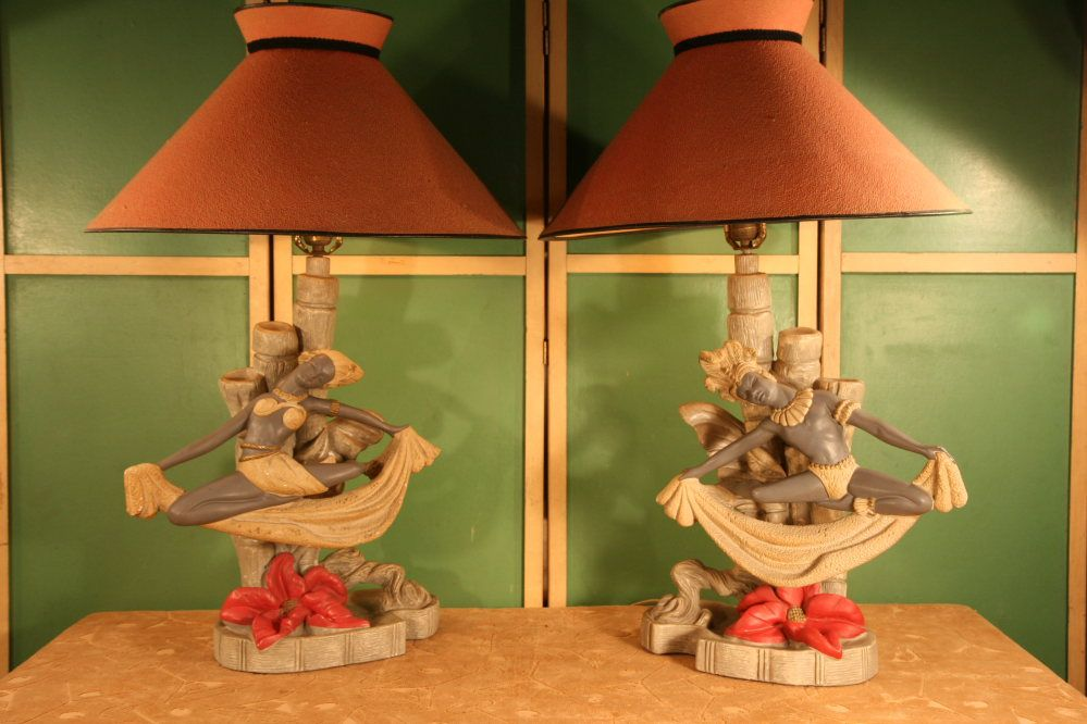 Late 1940s Early 1950s Chalkware Continental Art Co Table Lamp Set Probably Polynesian Dancers Just Beautiful Vintage Lamps Retro Lamp Vintage Furniture