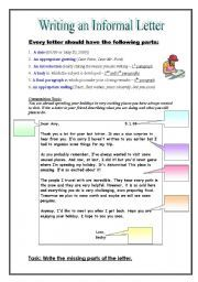 English worksheet informal friendly letter writing this ws explains the rules and structure of an informal letter it also includes a sample letter altavistaventures