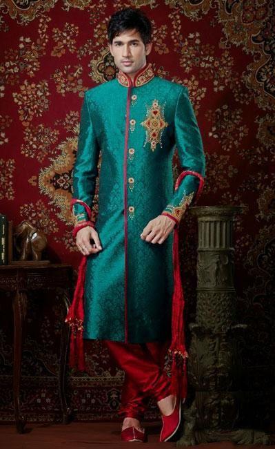 USD 210.19 Cream Banarasi Wedding Sherwani 40984 | India & color ...