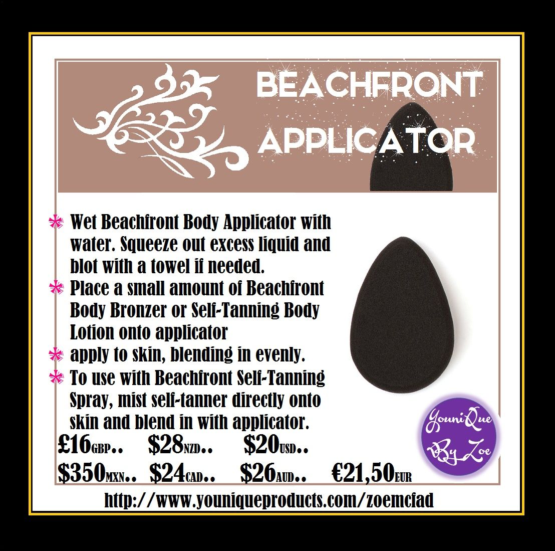 Beachfront Body Applicator For A Flawless, Streakfree Tan Wet Beachfront  Body Applicator With