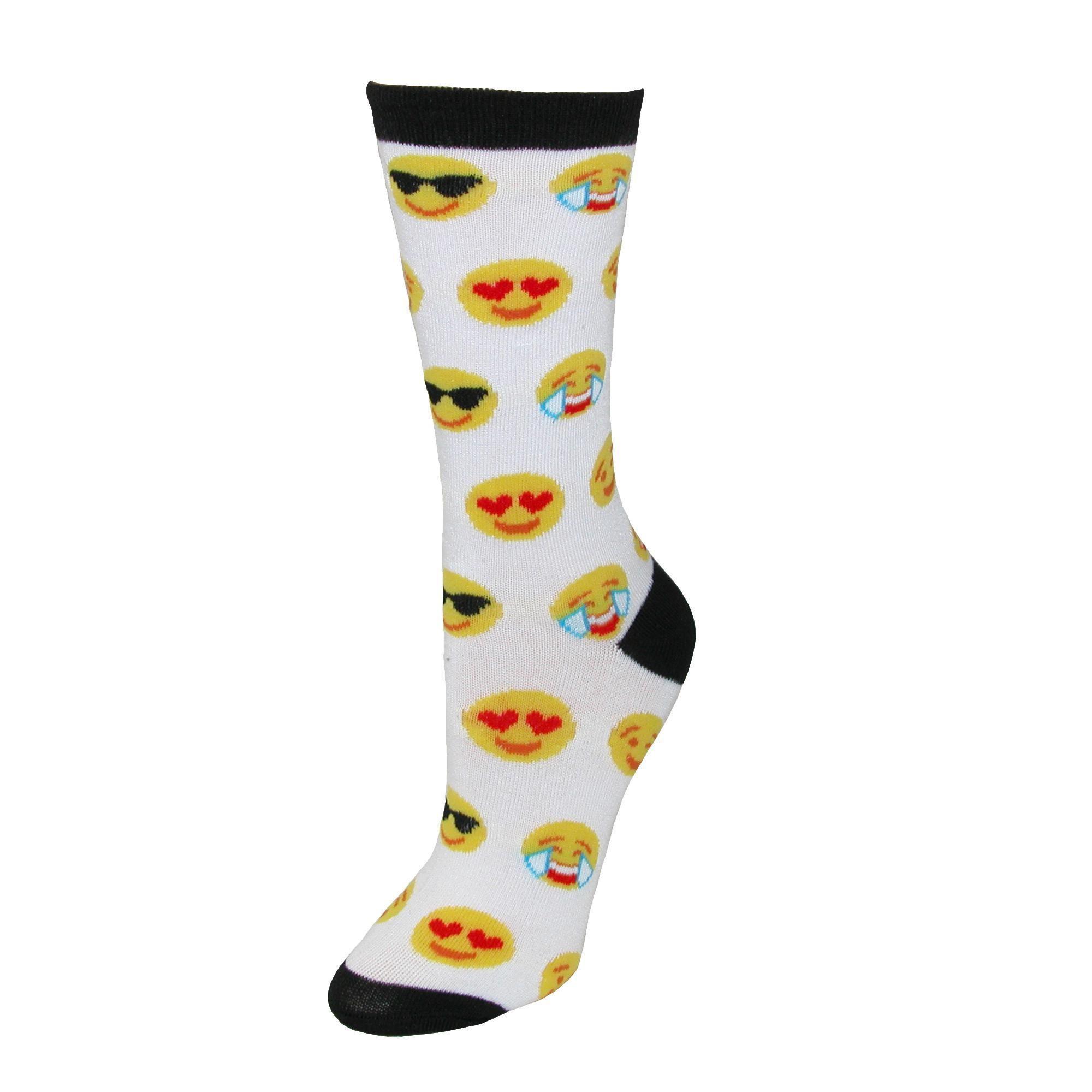 112ca7c1c51 CTM® Women s Emoji Crew Smiley Face Socks