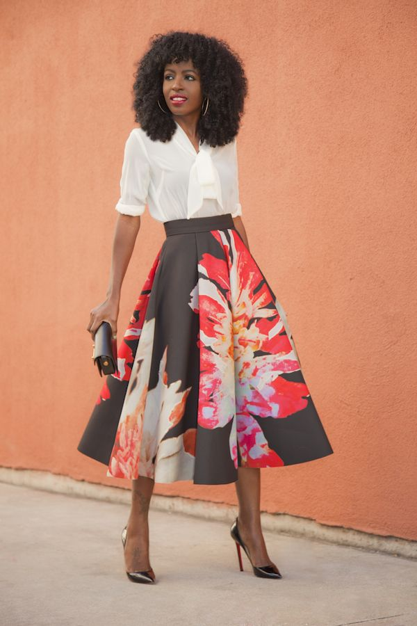 Tie Front Blouse   Floral Midi Skirt (Style Pantry) | Skirts ...
